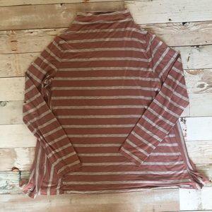 Loft Mauve & Gray Striped Shirt with High Neckline